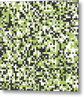 Green Pixel Art Metal Print by Mike Taylor