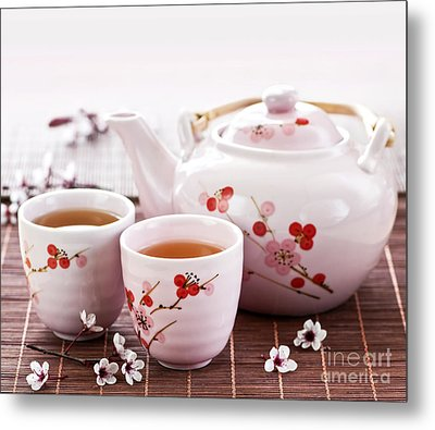 Green Tea Set Metal Print