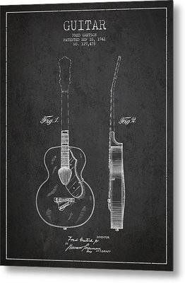 Gretsch Guitar Patent Drawing From 1941 - Dark Metal Print