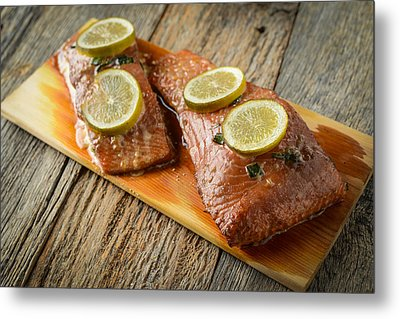 Grilled Salmon Cooked On A Cedar Plank Metal Print by Brandon Bourdages