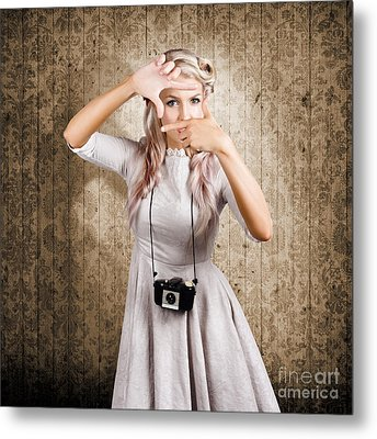 Grunge Girl With Retro Film Camera Concept Framing Metal Print by Jorgo Photography - Wall Art Gallery