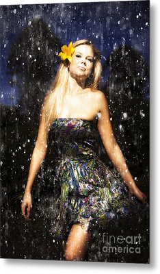 Grunge Portrait Of Sexy Woman In Rain Metal Print by Jorgo Photography - Wall Art Gallery