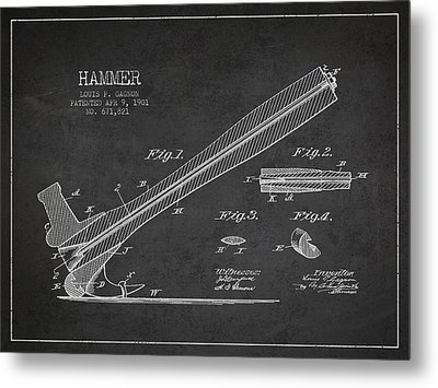 Hammer Patent Drawing From 1901 Metal Print by Aged Pixel