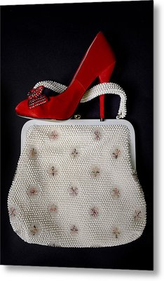 Handbag With Stiletto Metal Print by Joana Kruse