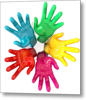 Hands Colorful Circle Reaching Skyward Metal Print