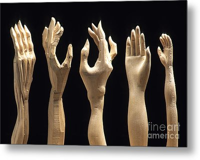 Hands Of Wood Puppets Metal Print by Bernard Jaubert