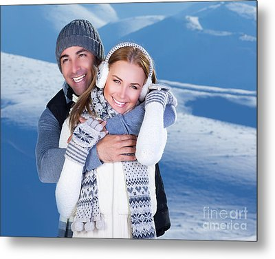 Happy Couple Playing Outdoor At Winter Mountains Metal Print by Anna Om