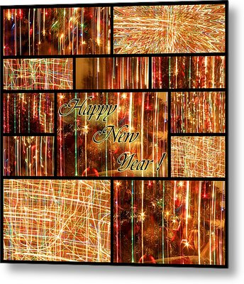 Happy New Year Collage  Metal Print by Julia Fine Art And Photography