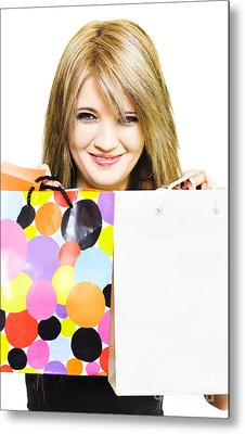 Happy Smiling Woman Holding Shopping Bags Metal Print by Jorgo Photography - Wall Art Gallery