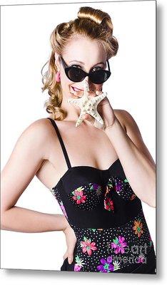 Happy Woman In Swimming Costume Metal Print