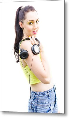 Happy Young Woman With Headphones Metal Print