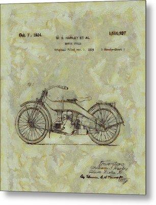 Harley Davidson Patent Metal Print by Dan Sproul