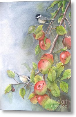 Harvest Chickadees Metal Print by Patricia Pushaw