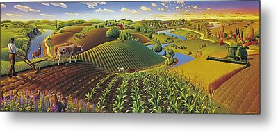 Harvest Panorama  Metal Print by Robin Moline