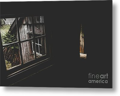 Haunted House Window View Of Open Door In Darkness Metal Print by Jorgo Photography - Wall Art Gallery