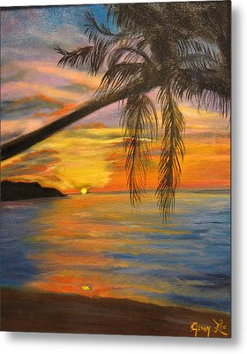 Metal Print featuring the painting Hawaiian Sunset 11 by Jenny Lee