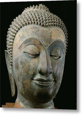 Head Of A Giant Buddha Bronze Metal Print by Thai