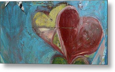 Heart Shape Painted On A Wall, Safed Metal Print