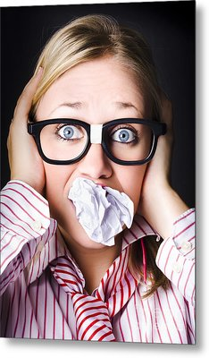 Hectic Business Person Under Stress Overload Metal Print by Jorgo Photography - Wall Art Gallery