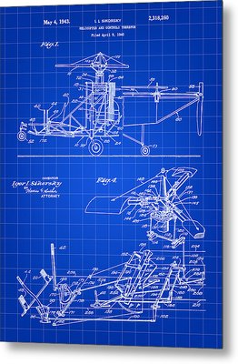 Helicopter Patent 1940 - Blue Metal Print by Stephen Younts