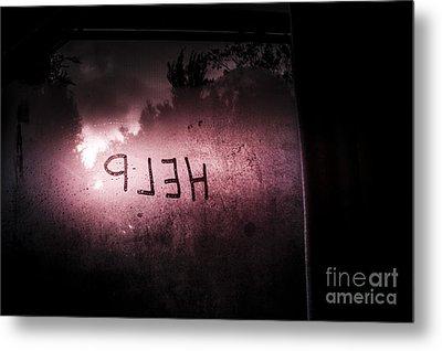 Help Written On A Misty Glass Window. No Escape Metal Print by Jorgo Photography - Wall Art Gallery