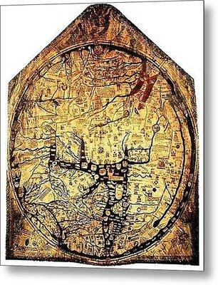 Hereford Mappa Mundi 1300 Upszed Metal Print by L Brown