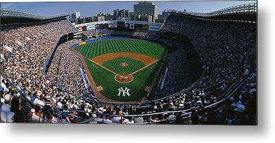 High Angle View Of A Baseball Stadium Metal Print