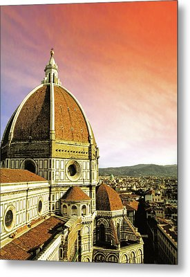 High Angle View Of A Cathedral, Duomo Metal Print