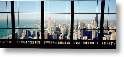 High Angle View Of A City As Seen Metal Print