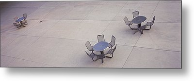 High Angle View Of Tables And Chairs Metal Print by Panoramic Images