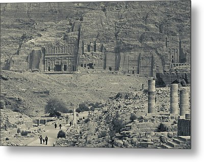 High Angle View Of Tourists At Ancient Metal Print
