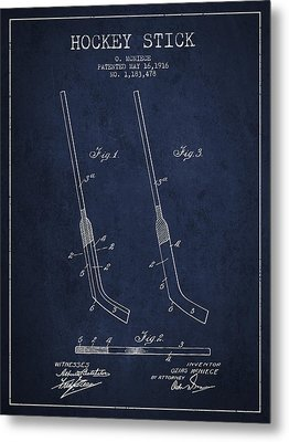 Hockey Stick Patent Drawing From 1916 Metal Print by Aged Pixel
