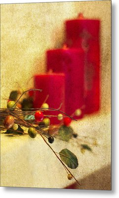 Holiday Candles Metal Print by Rebecca Cozart