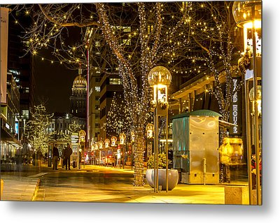 Holiday Lights In Denver Colorado Metal Print