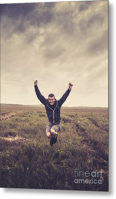 Holiday Man Jumping On Rural Australia Landscape Metal Print by Jorgo Photography - Wall Art Gallery