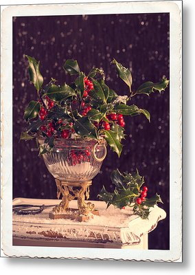 Holly And Berries Metal Print by Amanda Elwell