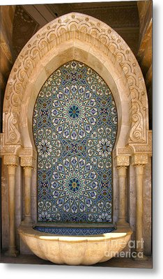 Holy Water Fountain Hassan II Mosque Sour Jdid Casablanca Morocco  Metal Print