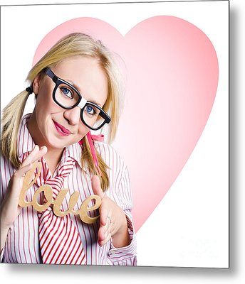 Hopeless Romantic Girl Showing Signs Of Love Metal Print by Jorgo Photography - Wall Art Gallery