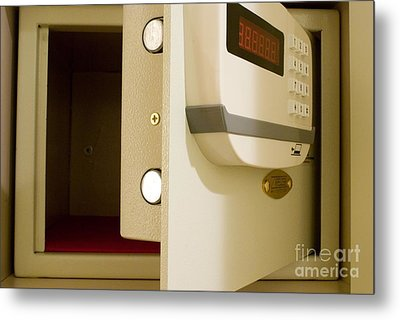 Hotel In-room Safe With Open Door Metal Print by Mark Williamson
