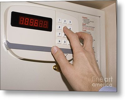Hotel Safe Keypad Metal Print by Mark Williamson