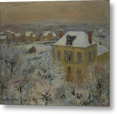 House In Winter Metal Print