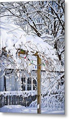 House Under Snow Metal Print by Elena Elisseeva