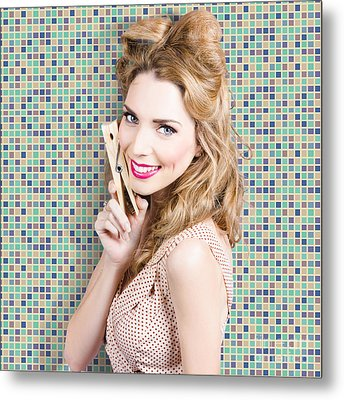 Housework. Smiling Young Woman Holding Laundry Peg Metal Print by Jorgo Photography - Wall Art Gallery