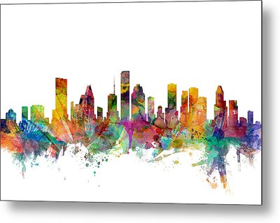 Houston Texas Skyline Metal Print by Michael Tompsett