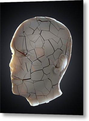 Human Head With Cracks Metal Print