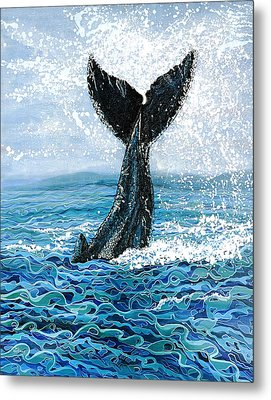 Metal Print featuring the painting Humpback Flukes by Debbie Chamberlin