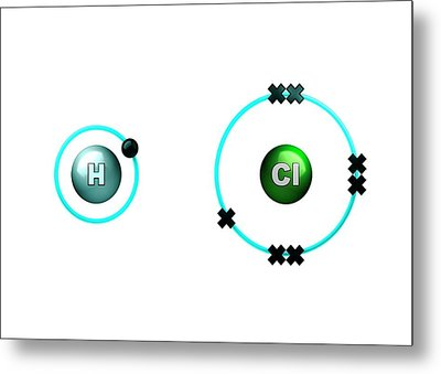 Hydrogen Chloride Molecule Bond Formation Metal Print by Animate4.com/science Photo Libary