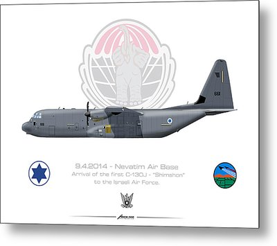 Metal Print featuring the drawing Isralei Air Force C-130j Shimshon by Amos Dor