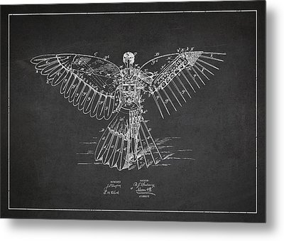 Icarus Flying Machine Patent Drawing Rear View Metal Print by Aged Pixel