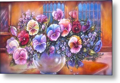 Icicle Pansies Metal Print by Patricia Schneider Mitchell
